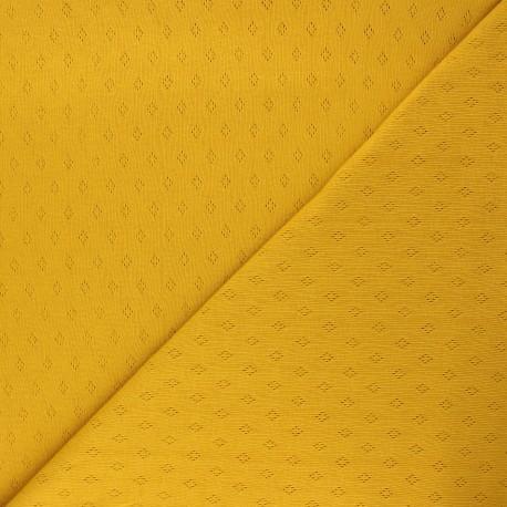 Tissu jersey maille ajourée Diamond - jaune moutarde x 10cm
