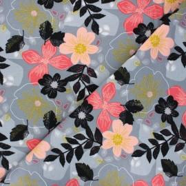 Poppy sweatshirt fabric - grey Floral x 10cm