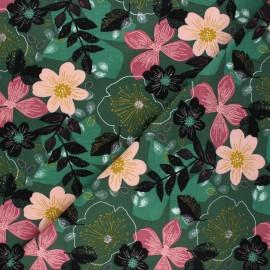 Poppy sweatshirt fabric - green Floral x 10cm