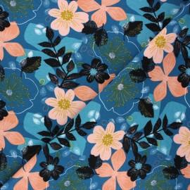 Poppy sweatshirt fabric - lagoon blue Floral x 10cm