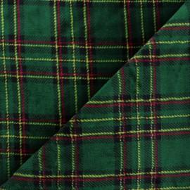 Tissu doudou écossais Glencoe - vert x 10 cm