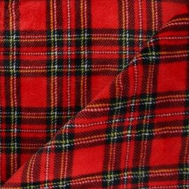 Flanell fleece fabric - red Glencoe x 10cm