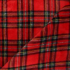 Tissu doudou écossais Glencoe - rouge x 10 cm