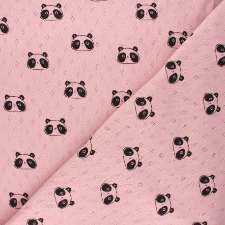 Tissu jersey maille ajourée Poppy Sweet panda - rose x 10cm
