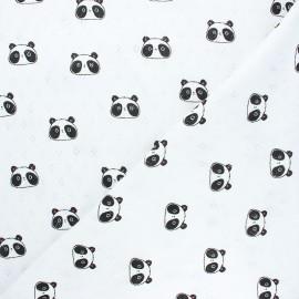 Tissu jersey maille ajourée Poppy Sweet panda - blanc x 10cm