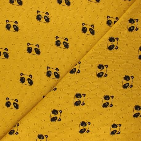 Tissu jersey maille ajourée Poppy Sweet panda - jaune moutarde x 10cm