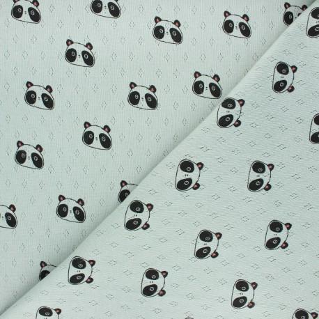 Tissu jersey maille ajourée Poppy Sweet panda - vert sauge x 10cm