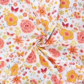 Poppy poplin cotton fabric - white Happy flowers x 10cm