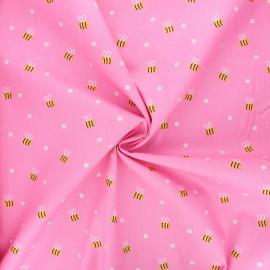 Poppy poplin cotton fabric - candy pink Bee with flowers x 10cm