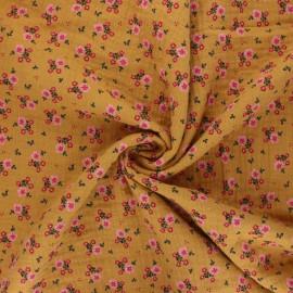 Poppy double gauze fabric - mustard yellow Sweet flowers x 10cm