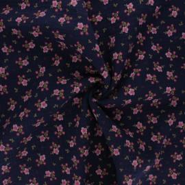 Poppy double gauze fabric - navy blue Sweet flowers x 10cm