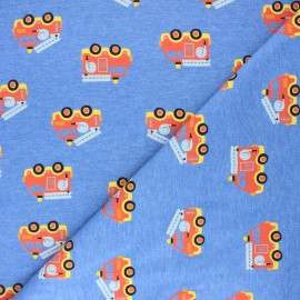 Poppy jersey fabric - mottled blue Safety first x 10cm