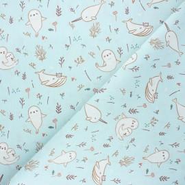 Cretonne cotton fabric - celadon Walina x 10cm
