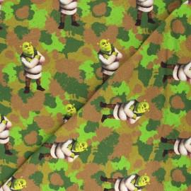 French terry fabric - green Camo Shrek x 10cm