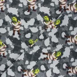 French terry fabric - grey Camo Shrek x 10cm