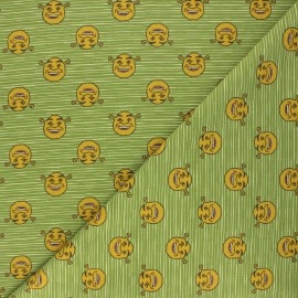 Tissu jersey Striped Shrek - vert x 10cm