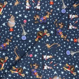 Jersey fabric - navy blue Madagascar circus x 10cm