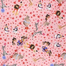 Jersey fabric - pink Madagascar circus x 10cm