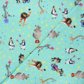 Jersey fabric - aqua green Madagascar circus x 10cm