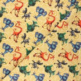 Jersey fabric - yellow Crazy Madagascar x 10cm