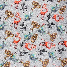 Jersey fabric - grey Crazy Madagascar x 10cm
