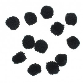 Pack of 9 soft pompoms - black