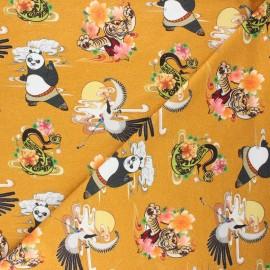 Jersey fabric - mustard yellow Kung Fu Panda adventures x 10cm