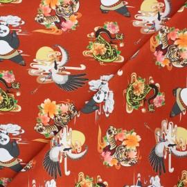 Jersey fabric - rust Kung Fu Panda adventures x 10cm