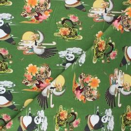 Tissu jersey Kung Fu Panda adventures - vert x 10cm