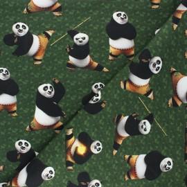 French terry fabric - dark green Kung Fu panda x 10cm