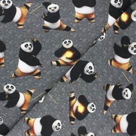 Tissu sweat léger Kung Fu panda - gris foncé x 10cm