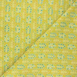 Tissu coton cretonne Toriek - vert anis x 10cm