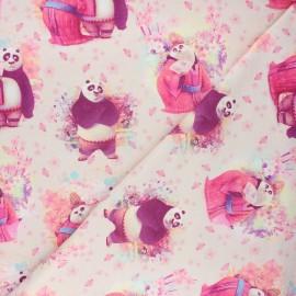 French terry fabric - light pink Kung Fu panda love x 10cm