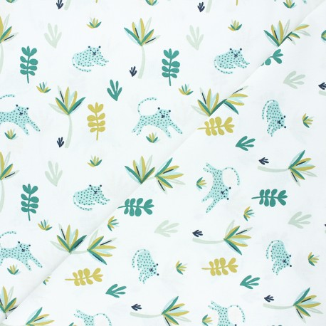 Cretonne cotton fabric - white/green Srumi x 10cm