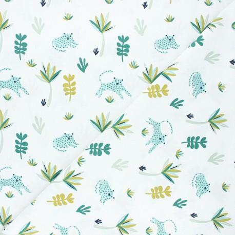 Tissu coton cretonne Tanako - blanc/vert x 10cm