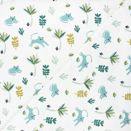 Jersey fabric - white/green Tanako x 10cm