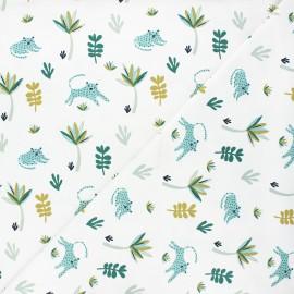 Tissu jersey Tanako - blanc/vert x 10cm
