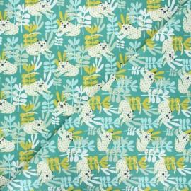 Tissu coton cretonne Tanza - vert x 10cm