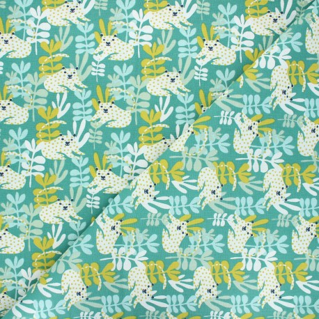 Cretonne cotton fabric - green Tanza x 10cm