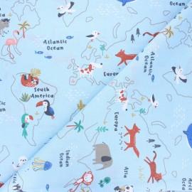 Cretonne cotton fabric - sky blue Mapzoo x 10cm