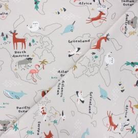 Jersey fabric - greige Mapzoo x 10cm