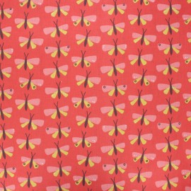 Coated cretonne cotton fabric - red Paps x 10cm