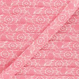 Biais polycoton 18mm Lacy - rose  x 1m