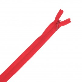 Recycled invisible non-divisible Eclair® zipper - red