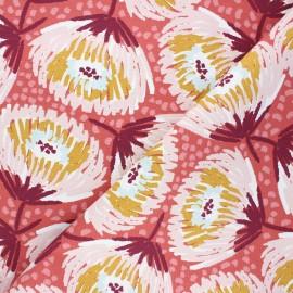 Cotton canvas fabric - marsala Laetitia x 10cm