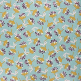 Coated cretonne cotton fabric - celadon Omby x 10cm