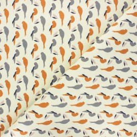 Tissu toile de coton Perko - écru/ocre x 10cm