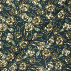 Tissu coton cretonne Zoelie - bleu nuit x 10cm