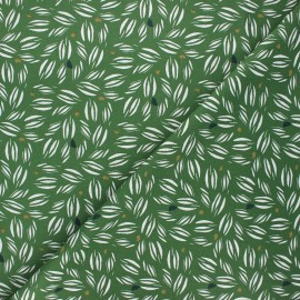 Tissu coton cretonne Vaoy - vert x 10cm