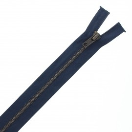 Recycled divisible brass Eclair® zipper - navy blue